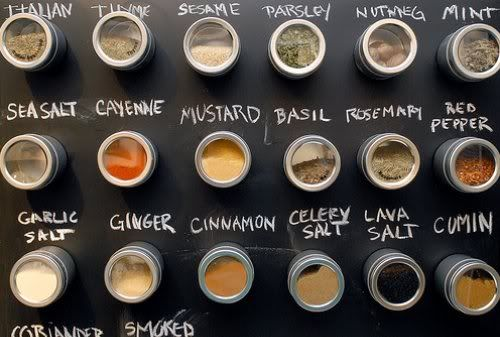 Rather than spend a bunch of money on a simple/modern spice rack, I think I might just find something magnetic, paint it with chalkboard paint, and glue some magnets on to some tins.