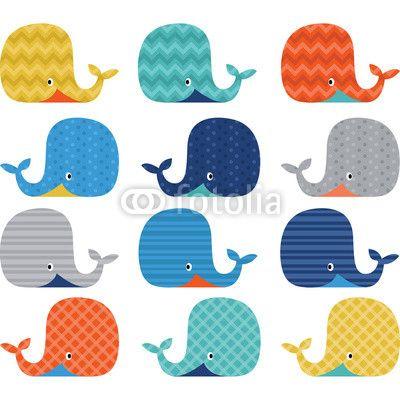 Papier peint Colorful Cute Whale Collections