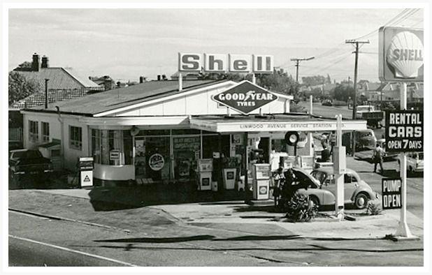 Linwood Ave service station Cashel Street/Linwood Avenue corner.  Date: 1965