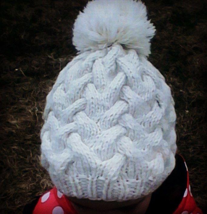 детская шапка осень араны косы помпон вязание