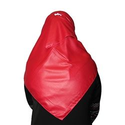 Hot Pink Colored Hijab with Leather-Like Look on other Side Plain Scarf