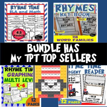 $6.00 Bundle (SAVE $4.50) 134 pages total- Bundle includes: Rhyme Time ELA and Math (45 pages) Great for Dr. Seuss Week. Read Across America week $2.25 Rhyme Time Week Math Addition and Subtraction- Mystery Picture of a cat in a striped hat (2 Pages) $1.25