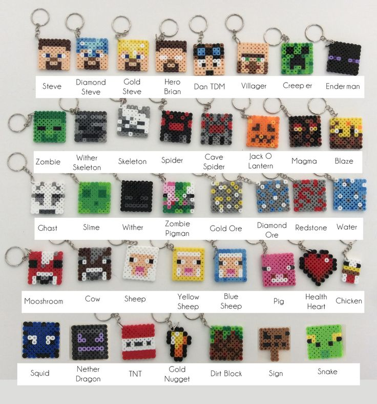Minecraft Inspired Key Chains / Key Rings perler beads by NinjaMonkeys