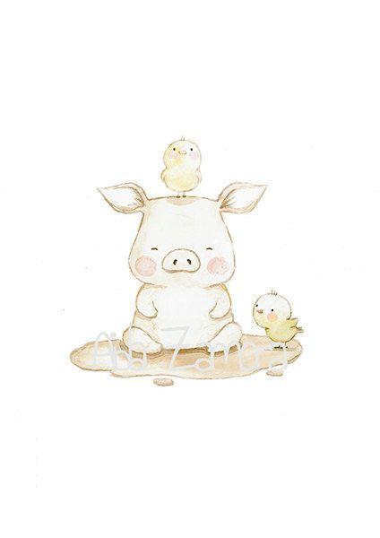 """Children's Art """"PIGGY"""" Whimsical Art, Nursery art, Nursery Wall Art, Pig nursery print, Farm animals art, Pig wall art, Aida Zamora"""