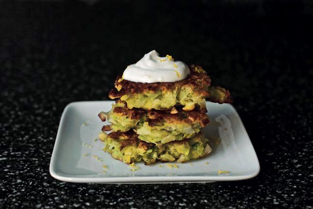 """Leek-Vegetable Fritters With Lemon Cream  Adapted from """"The Smitten Kitchen Cookbook"""" by Deb Perelman"""