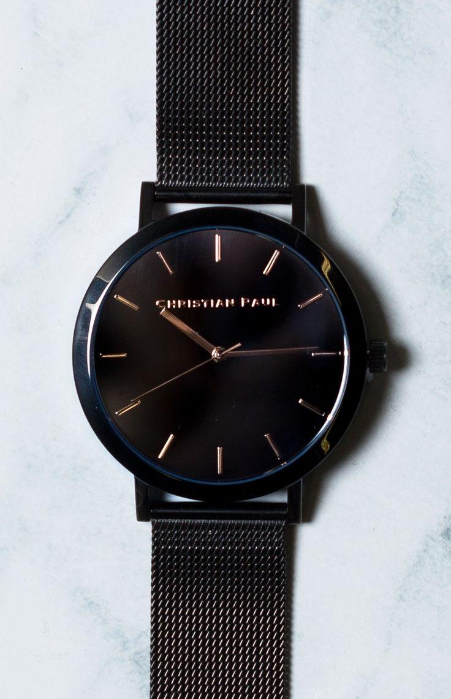 Christian Paul Raw Black Mesh Watch
