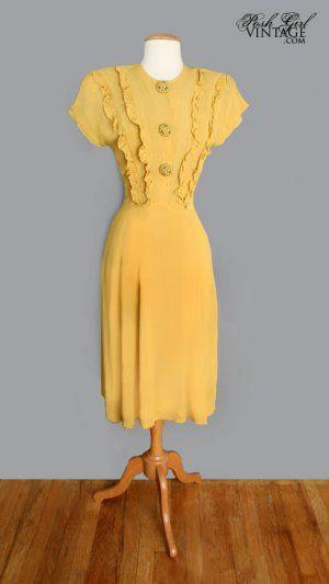 1940's Yellow Ruffled Vintage Swing Dress - WWII Era