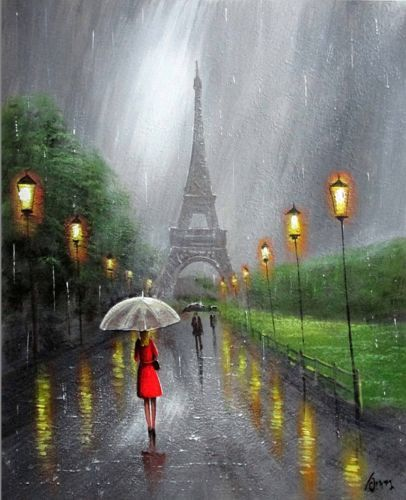 Artist Liyubo's Original oil Painting on wood frame Impressionist Landscape rainy figure EIFFEL TOWER by liyubo on Etsy