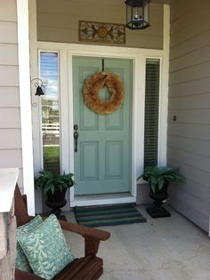 blue front door tan house - Google Search