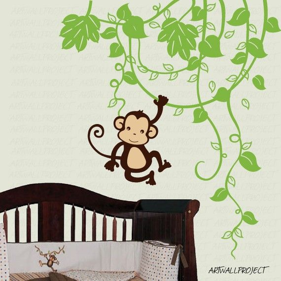 Removable Vinyl Wall Decal  Monkey in Jungle C by artwallproject