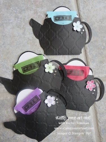 Stampin' Up! teapot cards made from the Oval Accent Bigz Die and embellished with Rhinestones and the Petite Petals stamp set - Stamp Your Art...