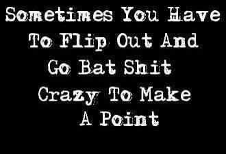 Bat shit crazy, umm hello duh! I know I'm bat shit crazy but at least I'm being who I need to be to those who are important, my kids.