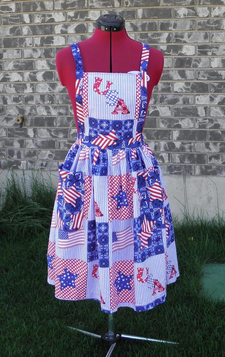 White apron brea ca - Womens Full Apron In Patriotic Print
