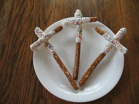 Easter Snacks: pretzel crosses, fisherman nets (pretzels, goldfish), silver coin cookies