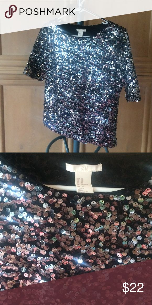 Sequined, silver short sleeve top Dense sequins, silver with black mesh t shirt underneath H&M Tops Tees - Short Sleeve