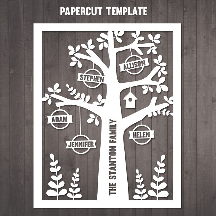 DIY Family Tree Papercut Template - personalised family tree paper cut template to cut out yourself by RubyAndTheRabbit on Etsy https://www.etsy.com/listing/236948907/diy-family-tree-papercut-template