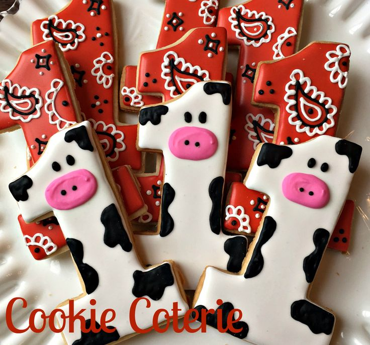 Cow Print and Bandanna Number One Cookies First Birthday Farm Party Favors One Dozen by CookieCoterie on Etsy https://www.etsy.com/listing/487040970/cow-print-and-bandanna-number-one