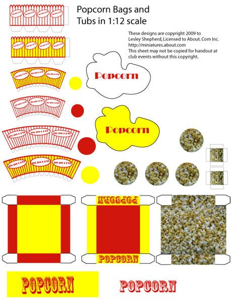 Free Dollhouse Printables | Printable pieces to make a popcorn machine and popcorn containers in ...