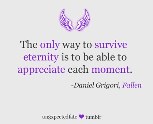 """""""The only way to survive eternity is to be able to appreciate each moment"""" ~ Daniel Grigori, FALLEN"""