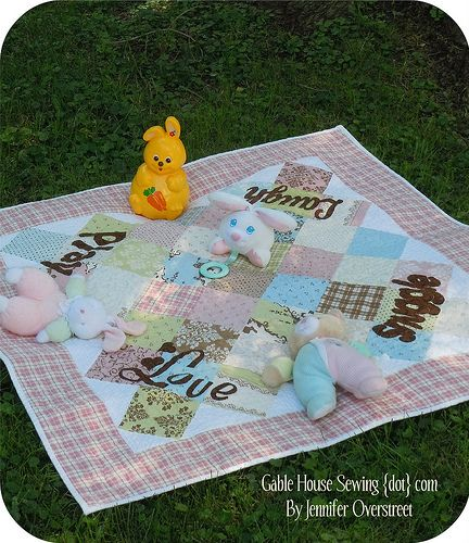 Snuggle Play Laugh Love Quilt  (play mat and quilt for baby)