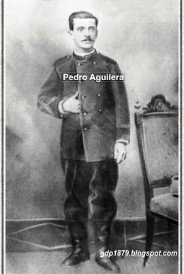 Pedro José Aguilera Utreras nació en Bulnes el 28 de julio de 1863, hijo de don Pablo Aguilera y doña Rosario Utreras.  Al estallar la Guerra del Pacífico se enrola el 14 de Septiembre de 1879, a la edad de 16 años, en el Batallón Chillán, conformado por civiles, pasando a formar parte de la Tercera Compañía.   Tomado del blog de Jonatan Saona http://gdp1879.blogspot.com/2011/04/#ixzz4kxXTsGu9
