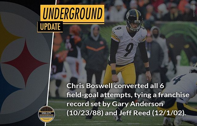 Chris Boswell's record day and more stats over at SteelCityUnderground.com #herewego #Steelers