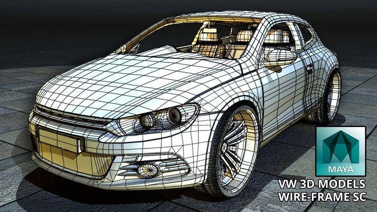 Autodesk Maya 2015 VW Scirocco 3D Model Wire Frame (Free 3D Model Downlo...