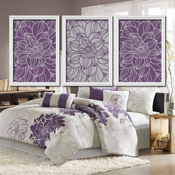 Purple Gray Bedroom Pictures  CANVAS or Prints Bathroom Artwork  Bedroom  Pictures  Flower Wall Art  Pictures  Dahlia Flower Set of 3 Home. The 25  best Purple gray bedroom ideas on Pinterest   Color