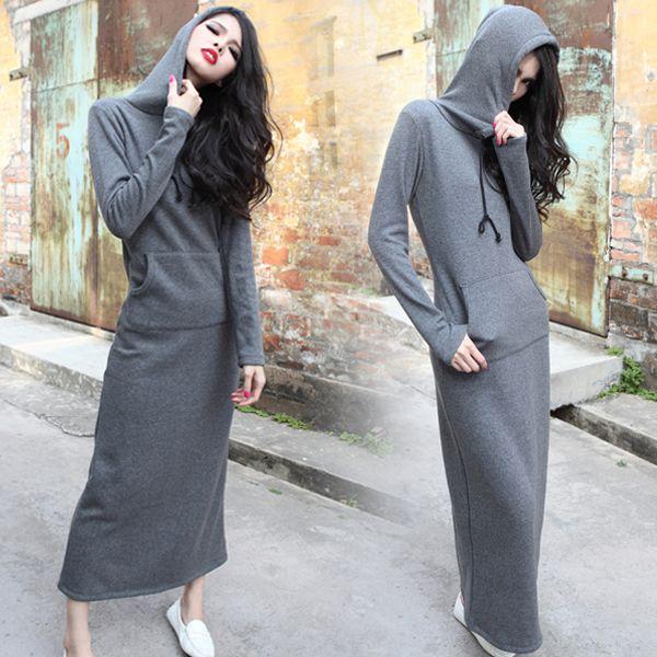 Trendy Casual Boho Plain Slim Hooded Sweat Shirt Warm Soft Hoody Maxi Long Dress[Gray]