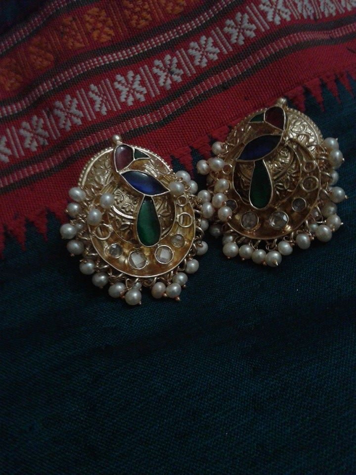 Amrapali Ethnic ear studs with multiple pear drops