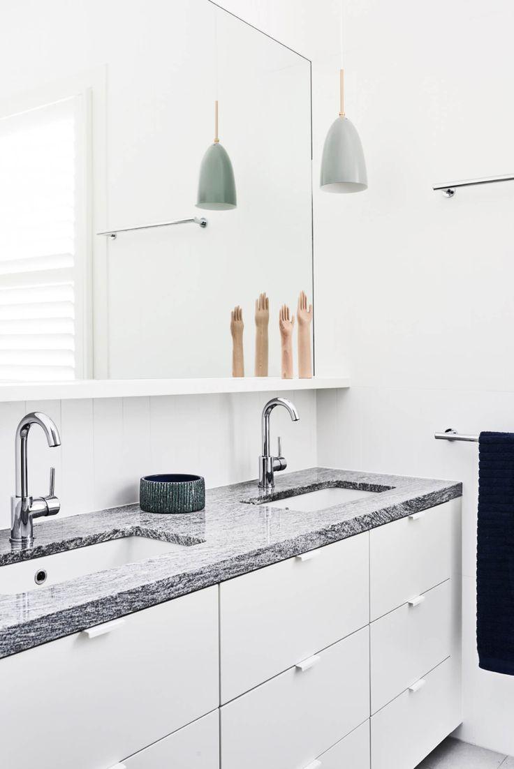 White handles, grey granite benchtop