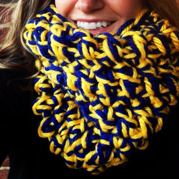 University of Michigan Maize and Blue CHUNKY cowl,  chunky neckwarmer, womens cowl, Umich,  U of M , UM gift, graduation gift Go blue  on Etsy, $32.00