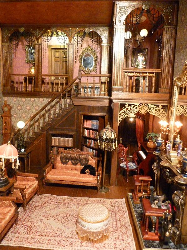 Fireplace end (jt- section of Jo Medvenic's fabulous Arsenic and Old Lace Roombox - go to her board for more pics)