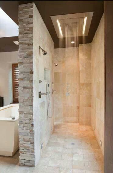Master bathroom with walk-through shower. YES! Because my Jeff rocks & can build me anything :-)