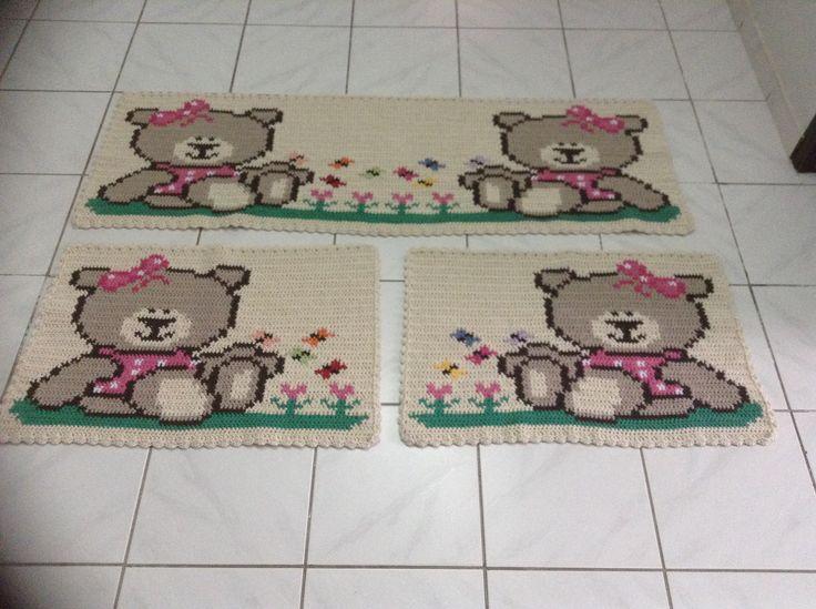 Conjunto de Tapetes Croche Barbante Cozinha
