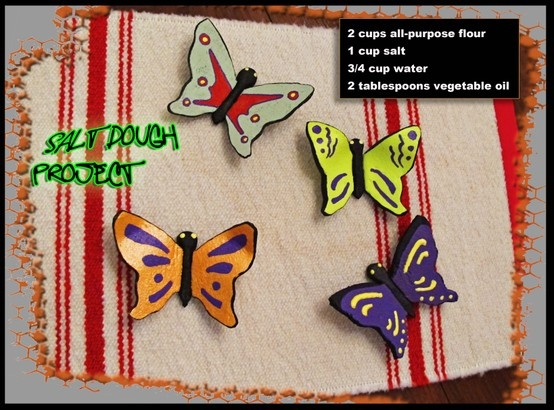 Butterfly Salt Dough project:  2 cups all-purpose flour 1 cup salt 3/4 cup water 2 tablespoons vegetable oil