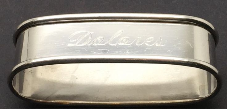 Sterling Silver Napkin Ring Dolores  Name  Named Initials Monogram Oblong Lunt #Lunt