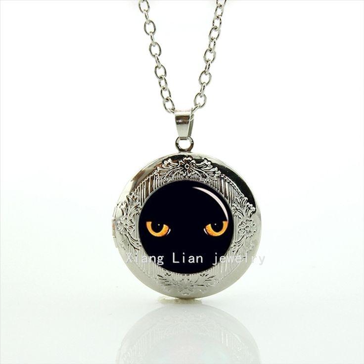 À la mode formelle noir panther eye, noir chats Peeping Noir Chat, noir cat eye de mariage personnalisé médaillon collier T545(China (Mainland))