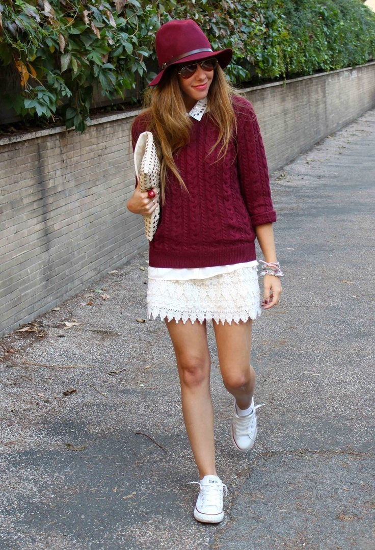 Zara  Sweaters, sandro ferrone  Skirts and Converse  Sneakers