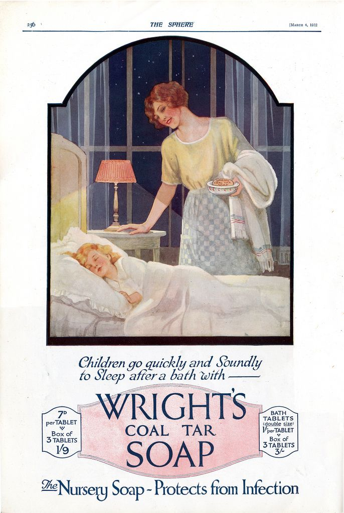 Wright's Coal Tar Soap Ad, Child asleep near mother, 1922 | by DominusVobiscum