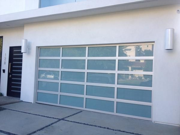 Contemporary Aluminum White Laminate Privacy Glass Garage Door Glass Garage Door Garage Doors Modern Garage Doors