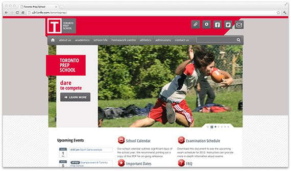 Understanding the school's superior academic program it was a welcome challenge to create a website that exuded the school's prestigious background and encouraged interest in prospective students and their families - See more at: http://u2r1.ws/designs/toronto-prep-school/#sthash.TwZeUhr7.dpuf