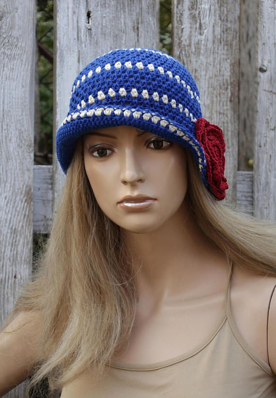 Summer Hat Crochet witch Red Rose Cloche Hat Blue Cotton