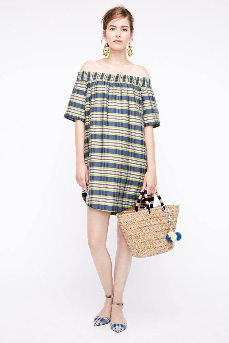 J.Crew Spring 2016 Ready-to-Wear Fashion Show  ..off-the-shoulder dress, shirt tail hem, surprise!...