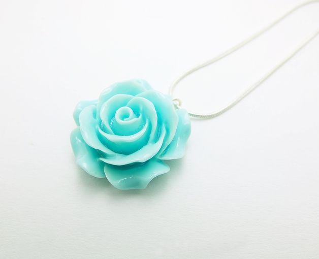 Rosen Halskette türkis 3cm Blüte Silberkette petro