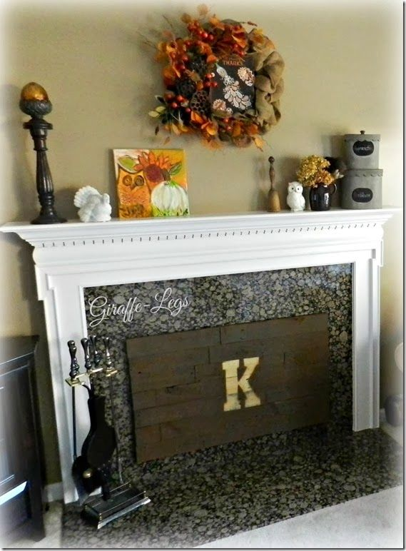 Insulated Fireplace Cover w/Pallet Wood