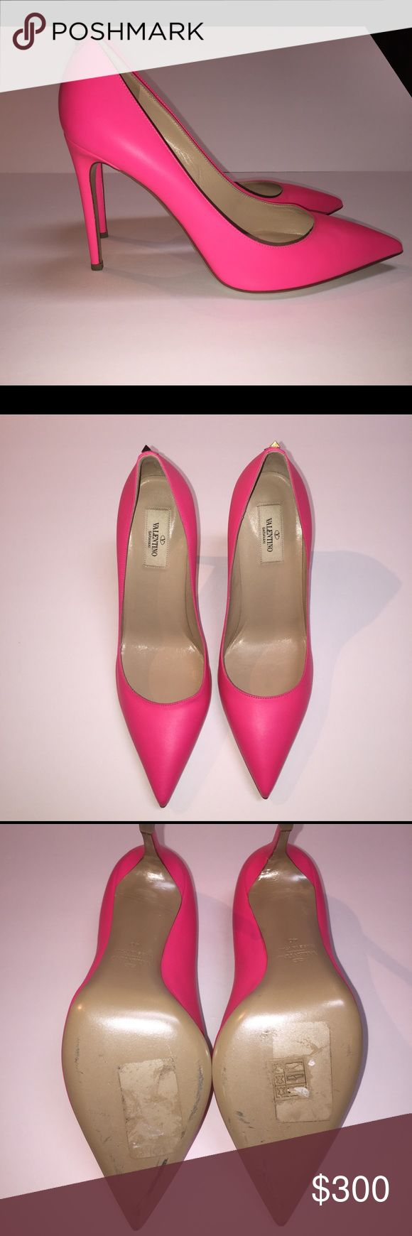 Valentino Pink Pumps Beautiful Valentino Hot Pink Pumps for sale!  Only worn once indoors, for less than 1 hour.  You can see minor scuffs on the soles, but they are in nearly new condition.  Beautiful pink for that perfect pop of color to your wardrobe! Valentino Shoes Heels