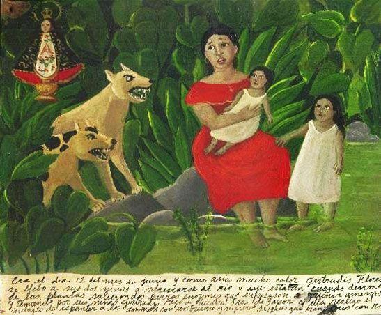 12 июня было очень жарко, и Хертрудис Флорес взяла своих дочек и отправилась освежиться на реку. Они сидели у реки, как вдруг из зарослей выбежали две огромные собаки и стали угрожающе рычать. Девочки испугались, а Хертрудис взмолилась Деве Сапопанской. Пресвятая сотворила чудо и спугнула собак <...>