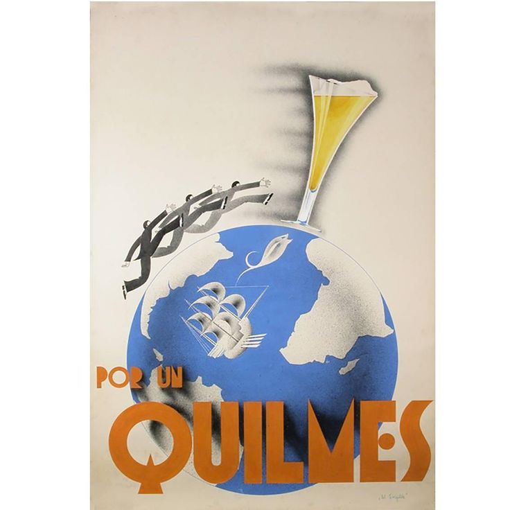 "Original Argentine Gouache ""Maquette"" for Quilmes Beer Poster, circa 1930s 1"