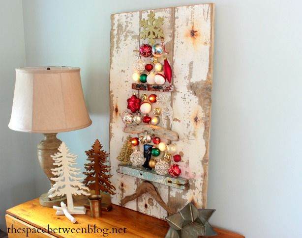 Upcycled Driftwood and Ornament Christmas Tree Art